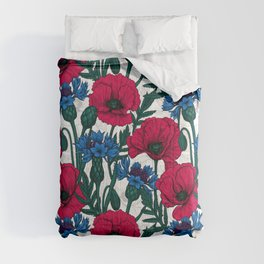Red poppies and blue cornflowers on white Comforters