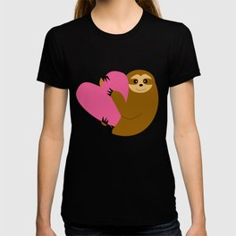 Sloth in love blue T-shirt