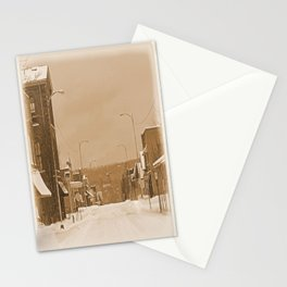 Old Main Street in the Snow Stationery Cards