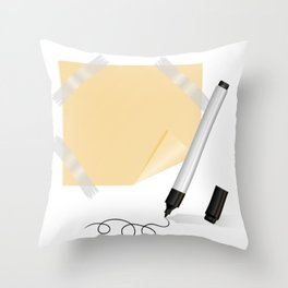 Black marker, yellow sticker with scotch tape Throw Pillow