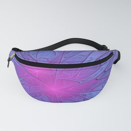 Pink Purple Abstract Flowers Fanny Pack