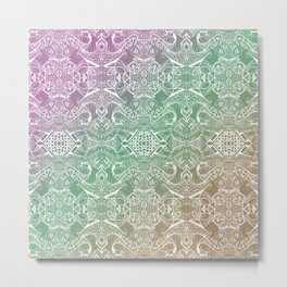 twisting mirrored pattern gradient zendoodle Metal Print