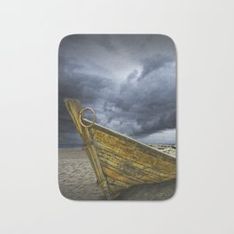 Beached Boat with Storm Brewing Bath Mat