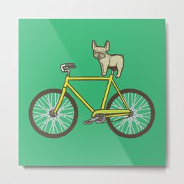 Frenchie on a Fixie Metal Print