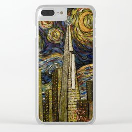 Dedication to Van Gogh: San Francisco Starry Night Clear iPhone Case
