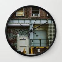 grafitti Wall Clocks featuring Grafitti Streets by Jillian VanZytveld