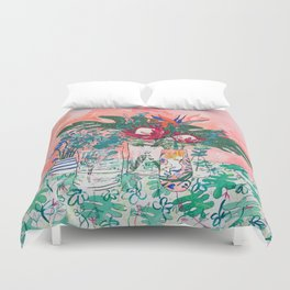 Cockatoo Vase - Bouquet of Flowers on Coral and Jungle Duvet Cover