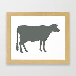 Cow: Dark Grey Framed Art Print