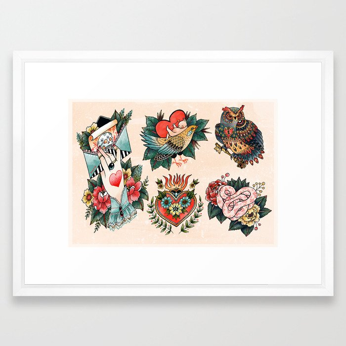 Tattoos of Love Framed Art Print by angelarizza | Society6