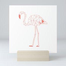 Salmon Pink Flamingo Low Polygon Mini Art Print