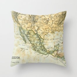 North America Vintage Encyclopedia Map Throw Pillow