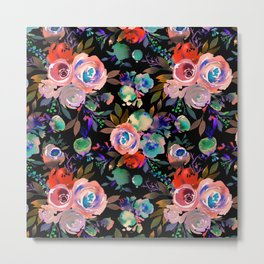 Pink red blue watercolor hand painted flowers Metal Print