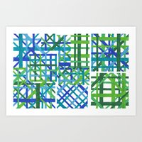 plaid Art Prints featuring Plaid by Smiley's Dreamboat