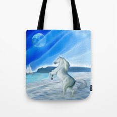 My Design - Beach with moon and horse Tote Bag
