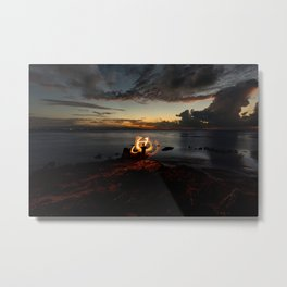Fire Twirl at Sunset Metal Print