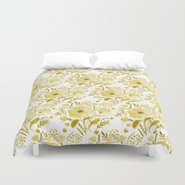 Flower bouquet with poppies - yellow Duvet Cover