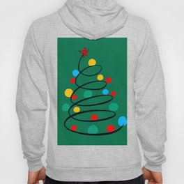 Christmas Tree Minimal Design Art Red Blue Green Hoody