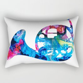 Colorful French Horn 2 - Cool Colors Abstract Art Sharon Cummings Rectangular Pillow