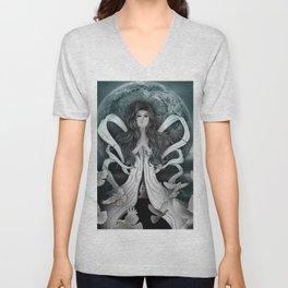 The moon goddess Unisex V-Neck