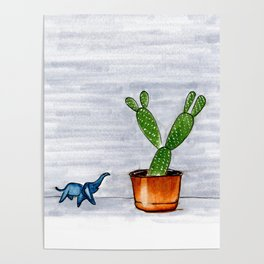 The Cactus & The Happy Elephant Poster