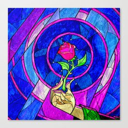 Beauty And The Beast Red Rose Flower Canvas Print