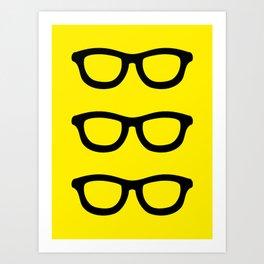Smart Glasses Pattern - Black and Yellow Art Print