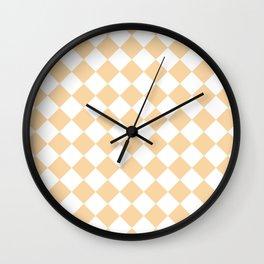 Diamonds - White and Sunset Orange Wall Clock