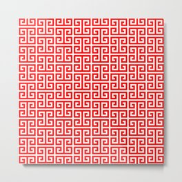 Red and White Greek Key Pattern Metal Print