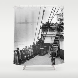 Immigrants Viewing The Statue of Liberty Photo Shower Curtain