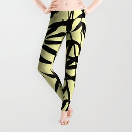 Yellow And Black, Watercolor Bamboo Seamless Pattern Leggings