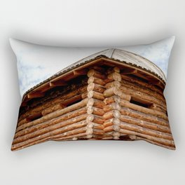 My House Is My Castle. Medieval Wood Log Fortress. White Clouds In The Background Rectangular Pillow