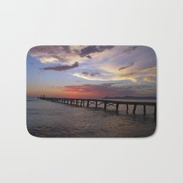Anglers in the sunrise at the sea Bath Mat