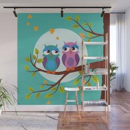 Sleepy owls in love Wall Mural
