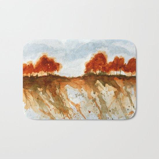Firebranch Ridge, Watercolor Abstract Landscape Art Bath Mat