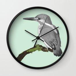 Kingfisher in gray Wall Clock