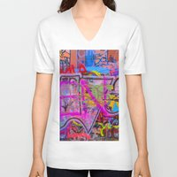 grafitti V-neck T-shirts featuring Bright Grafitti by davehare