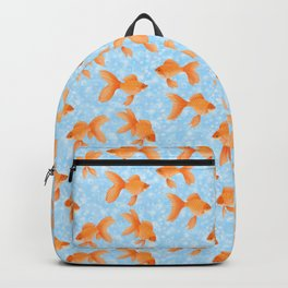 fantail goldfish on sky blue with bubbles Backpack