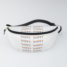 Happy - Word By Watercolor On white Background Fanny Pack