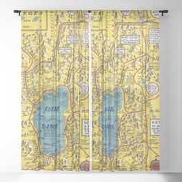 1947 Vintage Map of Lake Tahoe and Woolly Nevada Sheer Curtain