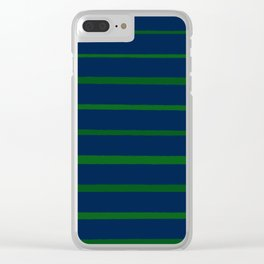 Slate Blue and Emerald Green Stripes Clear iPhone Case