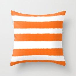 Warm and Happy Orange Stripes Throw Pillow