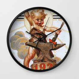 Joseph Christian Leyendecker - New Year Baby 1931 - Digital Remastered Edition Wall Clock