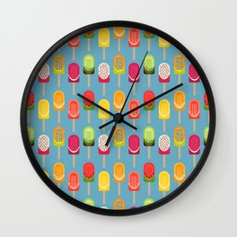 Fruit popsicles - blue version Wall Clock