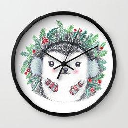 Winter Hedgehog Wall Clock