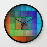 aperture Wall Clocks featuring Aperture #2 Fractal Pleat Texture Colorful Design by CAP Artwork & Design