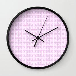 Pink and White Greek Key Pattern Wall Clock