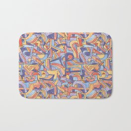 Party in Orange and Blue Bath Mat