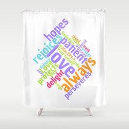 LOVE IS PATIENT 1 CORINTHIANS Word Art Shower Curtain