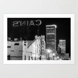 Cains Ballroom and the Tulsa Skyline - Black and White Art Print