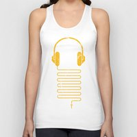 headphones Tank Tops featuring Gold Headphones by Sitchko Igor